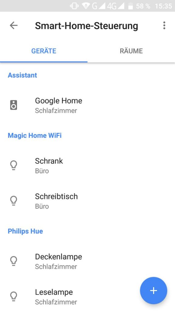 Google Assistant Übersicht Magic Home Wifi