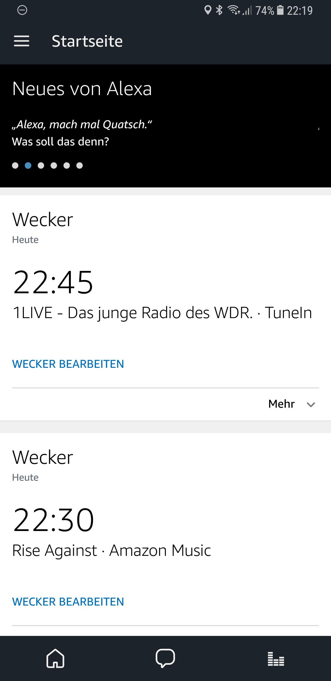 Amazon Music und TuneIn Alexa Musikwecker