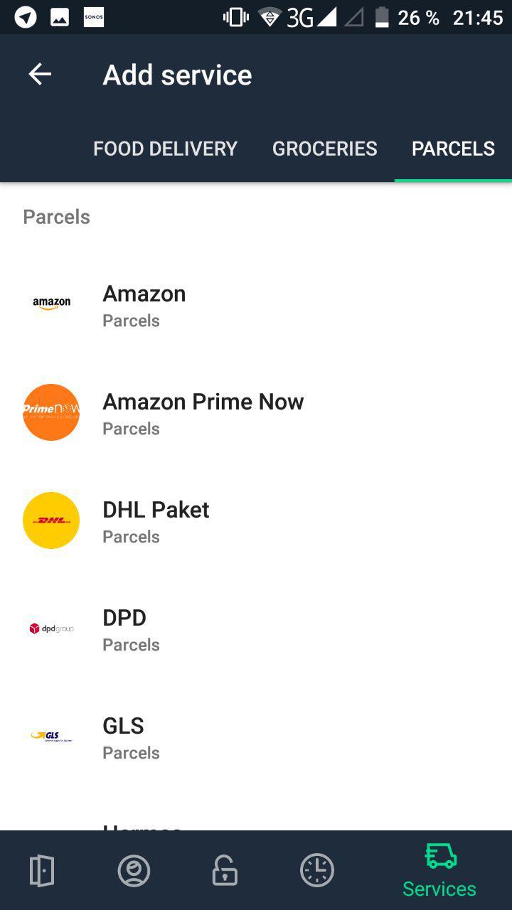 Nello App Paketdienste
