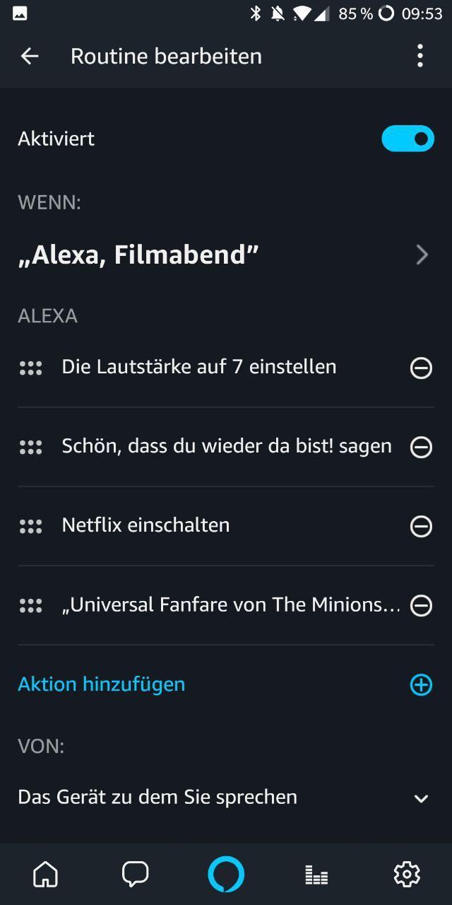 Alexa Routine Heimkino Abfolge