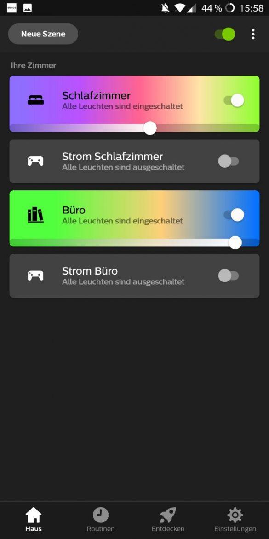 Hue App 3.0 Raumübersicht
