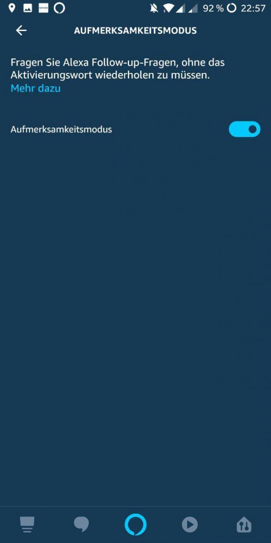 Alexa App Aufmerksamkeitsmodus