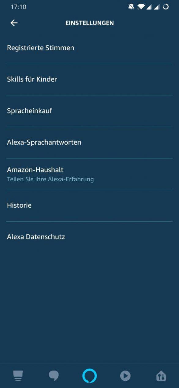 Alexa App Registrierte Stimmen