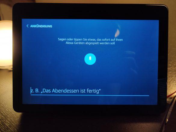 Echo Show Ankündigungen auf dem Display