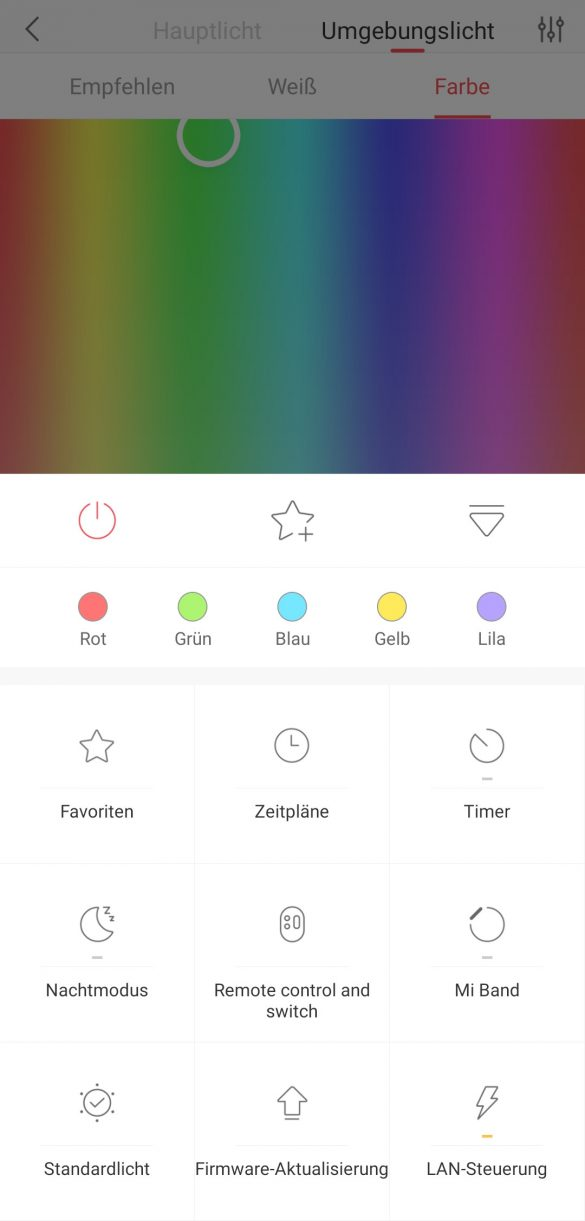 Yeelight App - Menu